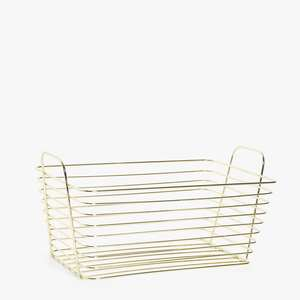 Square Handle Wire mesh french market basket empty gift basket Gold