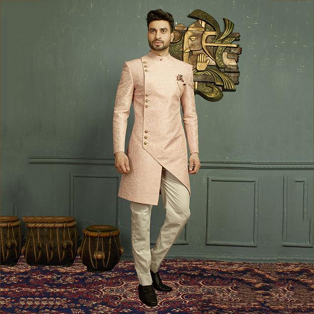 INMONARCH Groom Sherwani for/Men Maroon Sherwani Traditional Gold-Embroidered SH0466