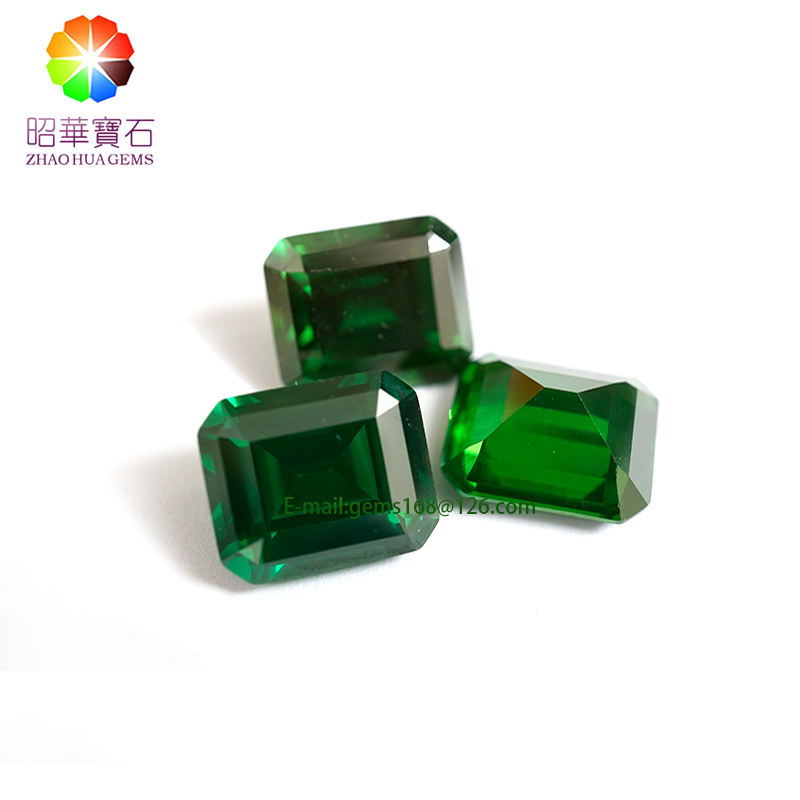 High quality supplier Tourmaline Green CZ super high Emerald Cut cubic zirconia Synthetic gemstonene wholesale cz