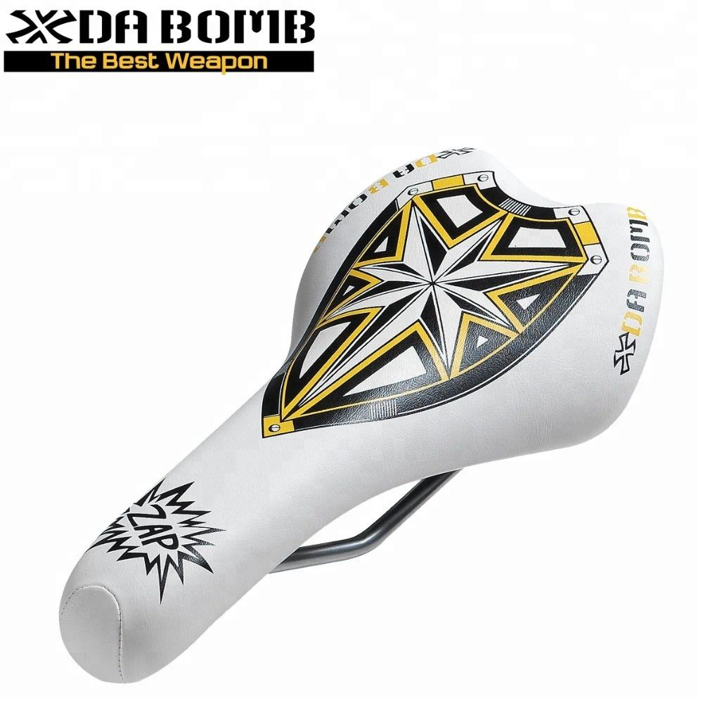Free Shipping On Sale DaBomb White PU MTB Bike Components Bicycle Saddle