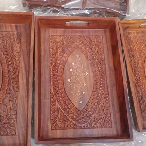 Wooden Serving Tray with inlay Rosewood Wooden Tray, Pakistan Handicrafts Wooden decoration tray, Solid wood kitchen tray
