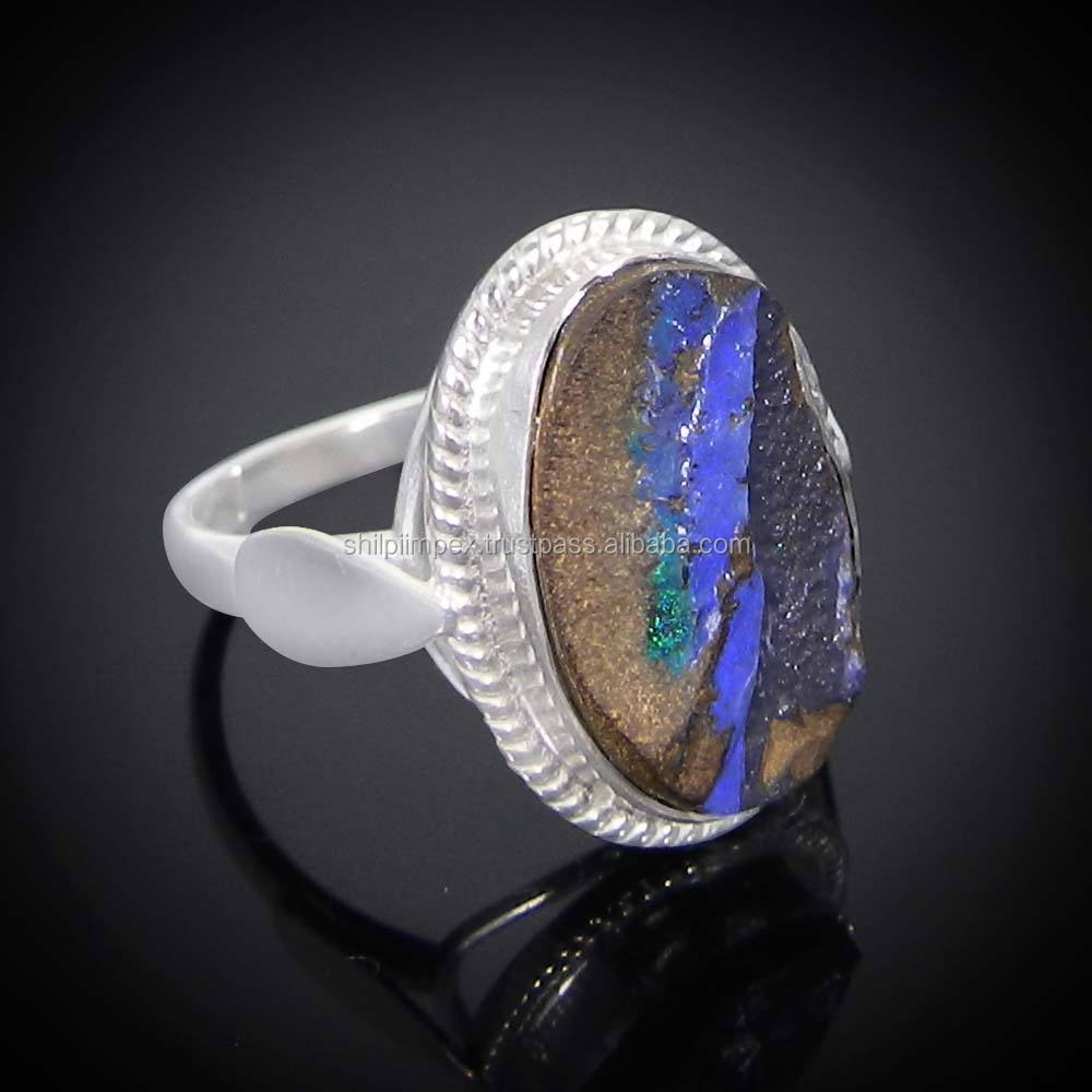 Natural boulder opal gemstone 925 sterling silver designer handcraft bezel set ring