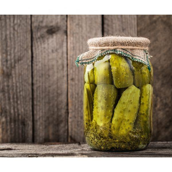 Gherkin 4-7 cm with natural vinegar in glass jar 720ml