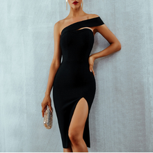 Wholesale elegant women black sexy tight bodycon split party club dress