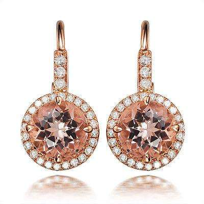.925 sterling silver Rose Gold Plated Champagne Citrine Gemstone CZ Cubic Zirconia Diamond Earrings