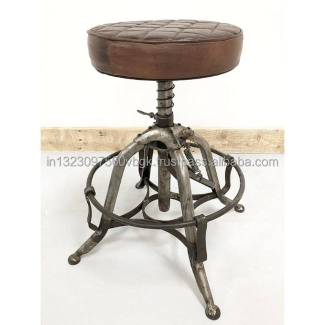 Industrial & vintage iron metal rusty black indian furniture bar stool with leather seat