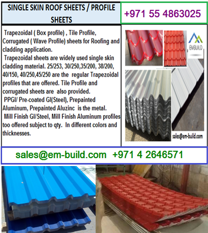 Steel, Aluminum and Aluzinc sheets for roofing + 971 56 5478106