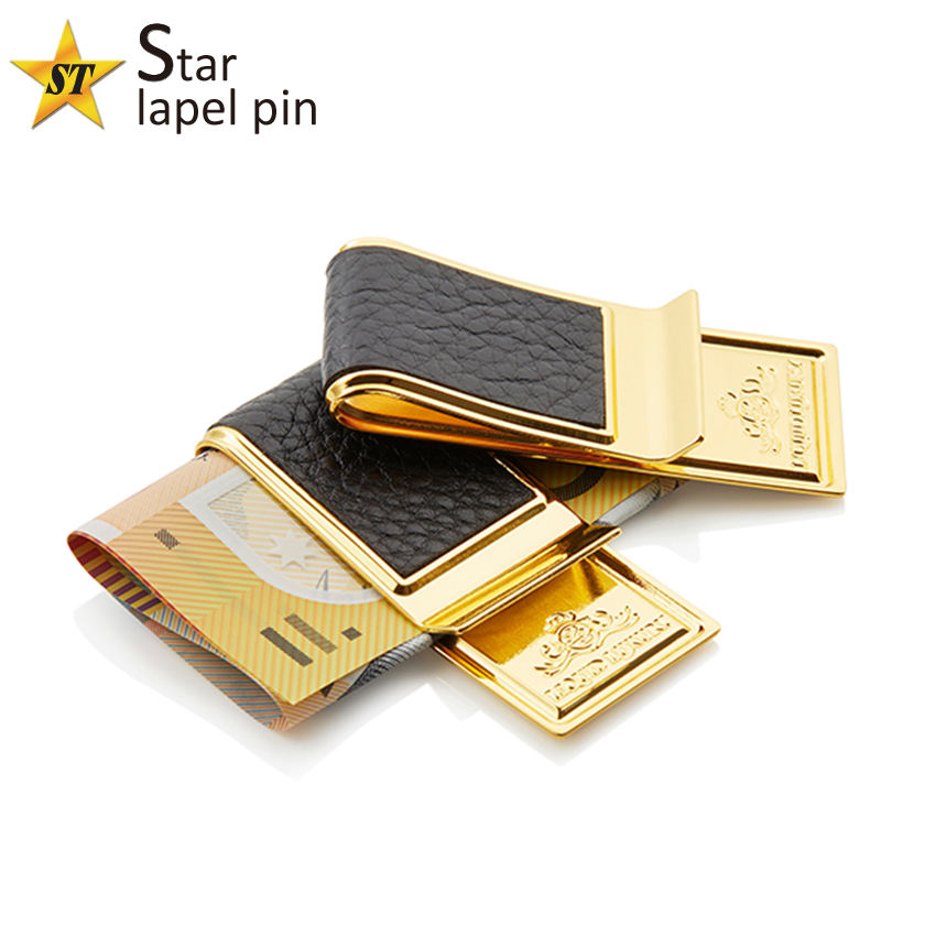 Gold plated round metal logo cheap binder clip custom mens money clip