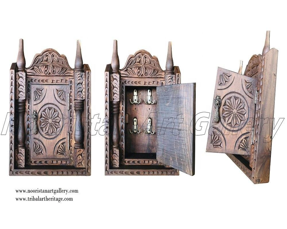 Antique Hand Carved Wooden Key Holder Box (KE-01000)