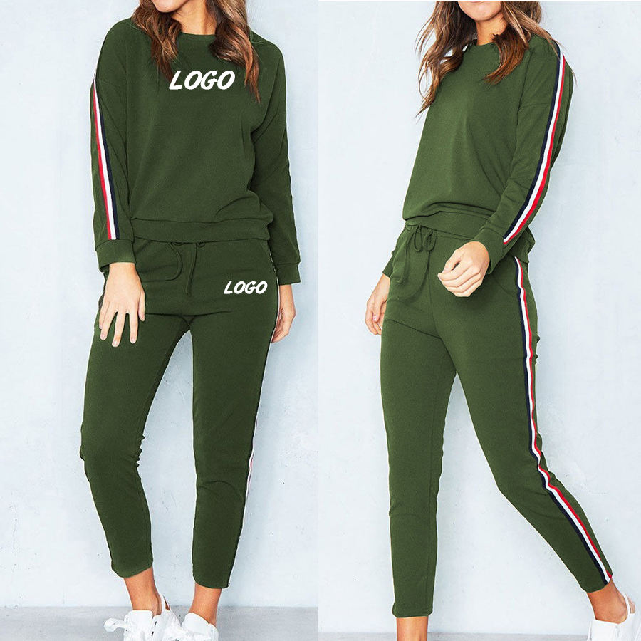 Women Tracksuits Wholesale slim fitted side stripe custom sports tracksuit for women ladies gym tracksuits women fitness wear