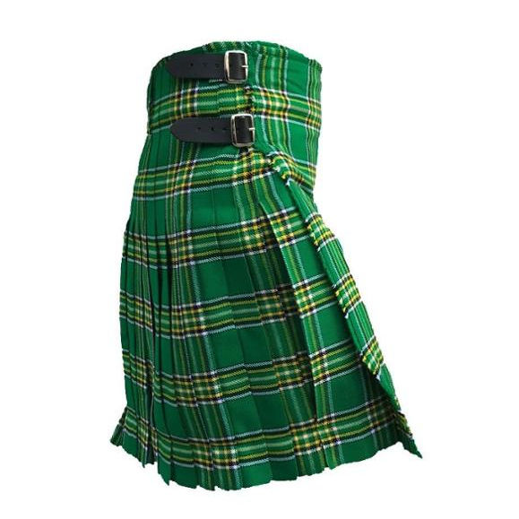 Irish National Tartan 8 Yards Men Scottish Highland Kilt, Best Quality Scottish Traditional Highland Kilt
