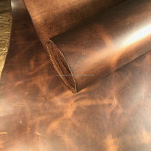 Genuine real cow skin leather one hide for selling Waxy oil pull up leather for upholstery