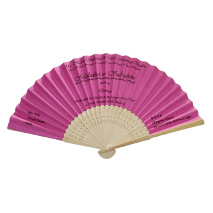 21cm natural bamboo paper fan with golden logo printing
