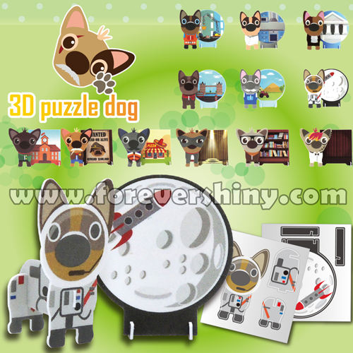 Custom Logo OEM ODM Plastic Gashapon Egg Toy DIY Cute Animal Paper Craft Dog 3D Puzzle with Capsule
