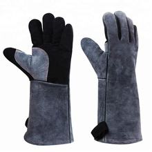 Multifunctional Cow Leather Gloves Heat Resistant Gloves for Handling Animals as Dog Cat Bird Reptile Welding