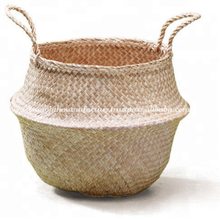 Natural Seagrass Belly Basket For Storage. Woven Seagrass Basket