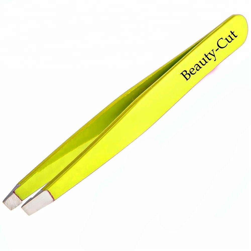 yellow straight tip eyebrow plucking and shaping tweezers