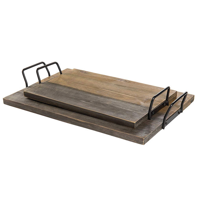 Rustic Torched Wood Serving Tray with Modern Black Metal Handles Home & Kitchen