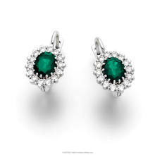 Large Diana Earring Set with 2 center stone Emerald Oval cut 2.50ct and 20 small diamonds around it