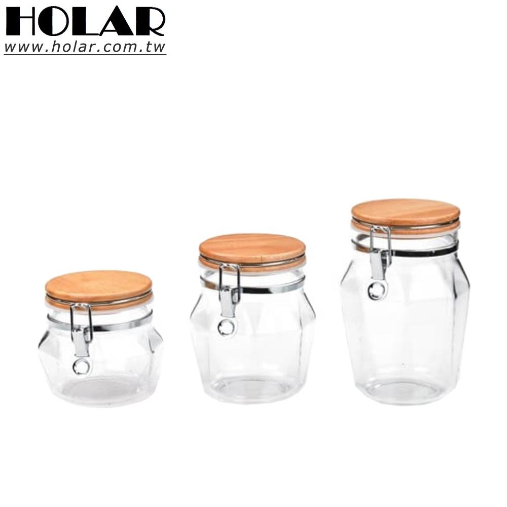[Holar] Taiwan Made Diamond Shape Airtight Canister with Rubber Wood & Acrylic