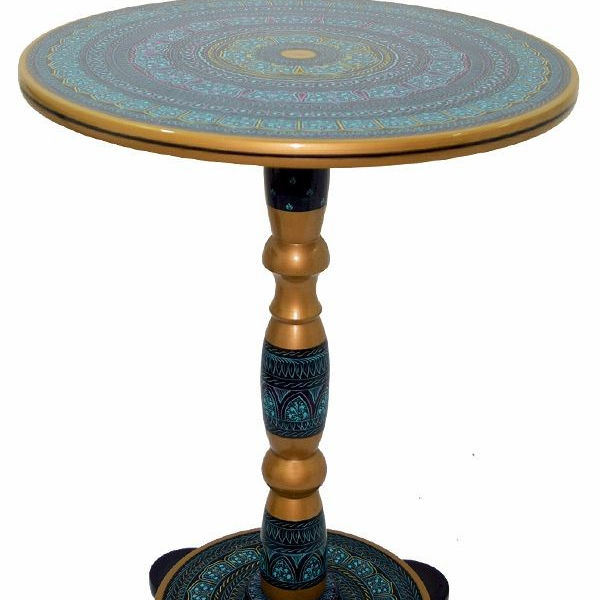 Wooden Table Lacquer Work, Handmade wooden Lacquer colorful Table Wooden Table Lacquer Work, Fancy Traditional Table