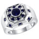 Sapphire men's ring wholesale classical round solitaire blue sapphire men's silver engagement ring sapphire rings design for men