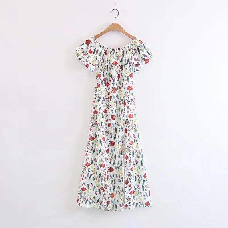 2020 Women Summer clothes straight collar floral ruffle Casual Dress