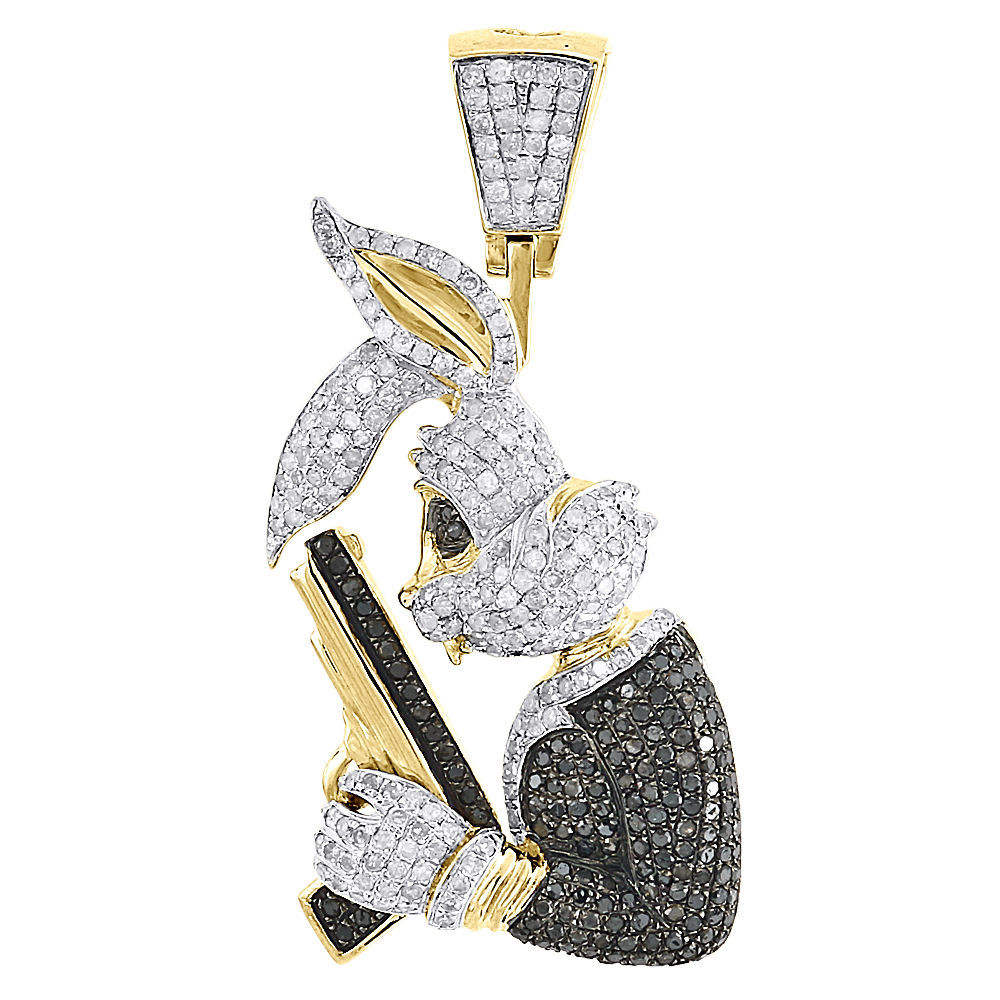 1.97 Carats Bunny Hip Hop Diamond Pendant Craft 14 18k Yellow Gold、Black Diamond Bunny Pendant Menの14 18k Gold Round Pave Gun