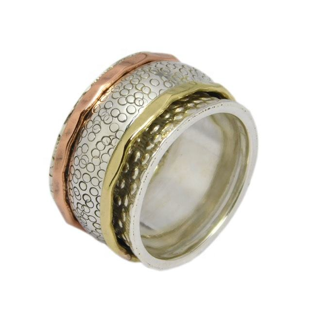 Fabulous Ring All Size Three Tone Spinner 12 mm Band 925 Solid Sterling Silver Wholesale Suppliers