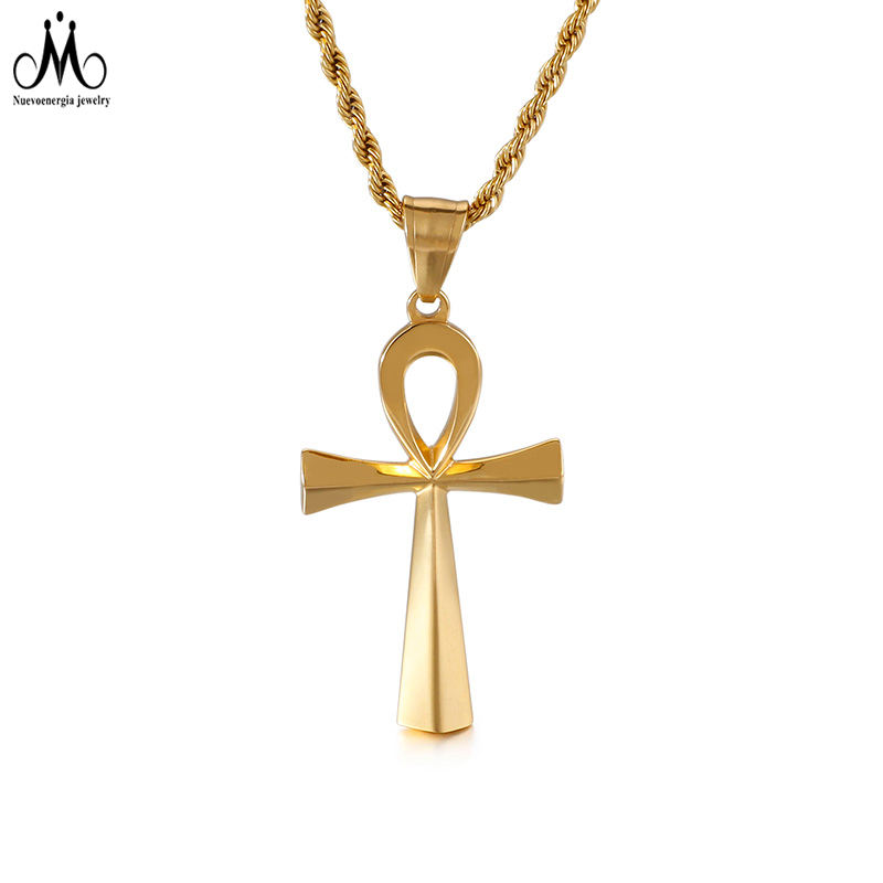 Ancient Egypt Symbol Ankh Pendant Men Jewelry 18K Gold Plated Stainless Steel Accessories