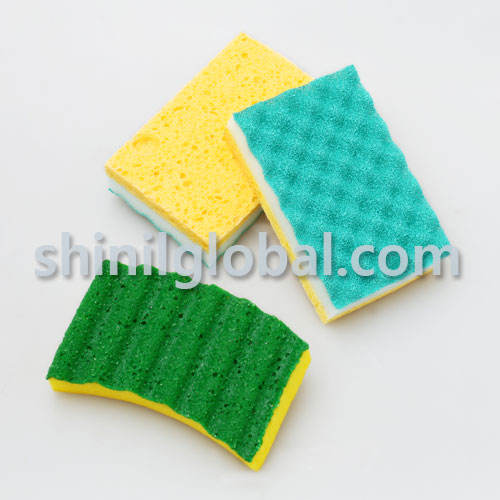 Factory Colorful SCL-7 Kitchen Cleaning/Washing Scourer cellulose Sponge with polyurethane