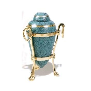 Decorative cremation urn with stand
