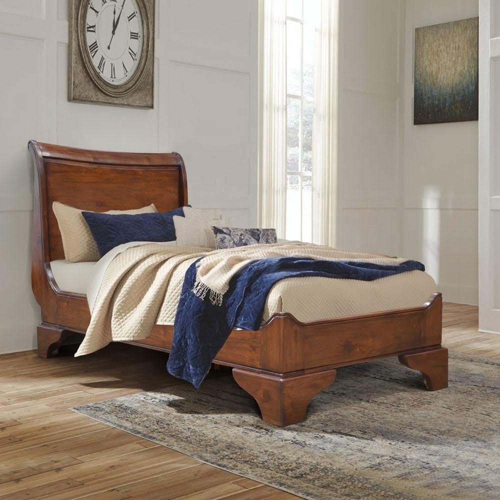 Queen Sleigh Bed 91 x 190 cm solid wood, wooden bed, single bed
