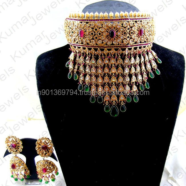 Heavy Bridal Wear Designer Gold Plated Uncut Polki Ruby Emerald Color Stone Pearl Beaded Indian Choker Necklace Set