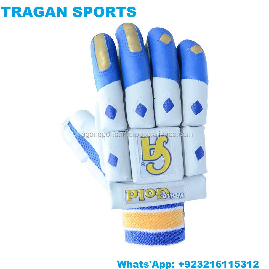 PAKISTAN SPORTS CA WHITE GOLD CRICKET BATTING GLOVES