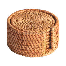 Rattan coaster set / Wholesale rattan cup holder