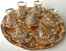 Silver color crystals coverd on Gold tea set ,gift TEA set,6 PERSON COFFEE CUPS SET,turkish tea glass