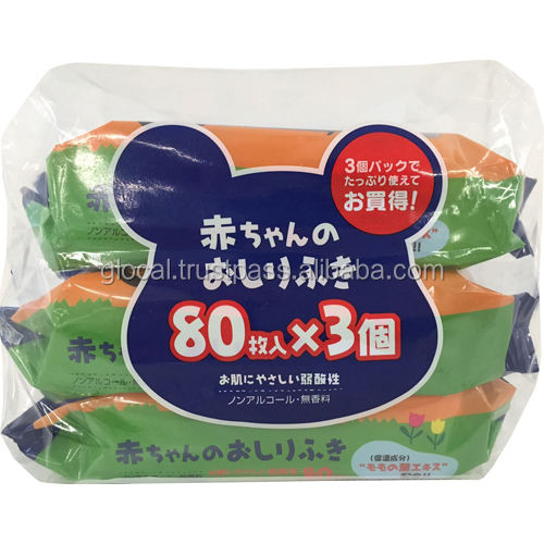 Japan Baby Wipes 'SMALL SHEET' 80sheets 3p/pack