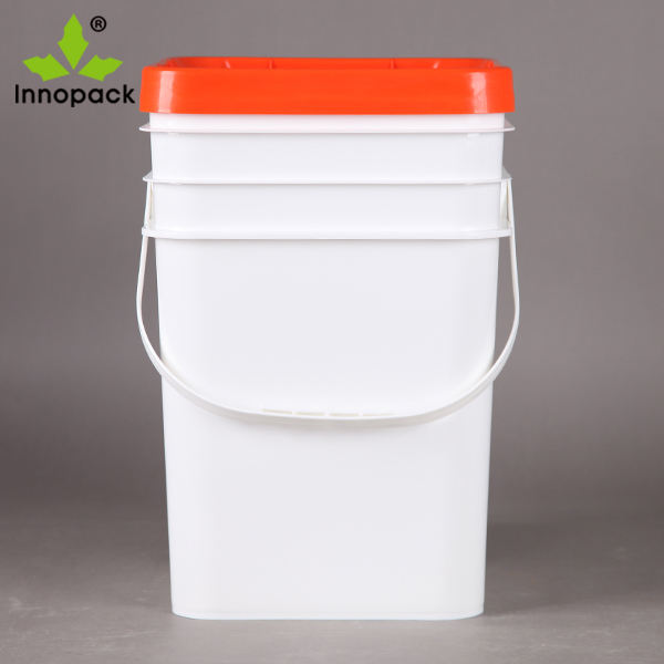 20L animal feeds square plastic pail with lid custom PP plastic packaging bucket
