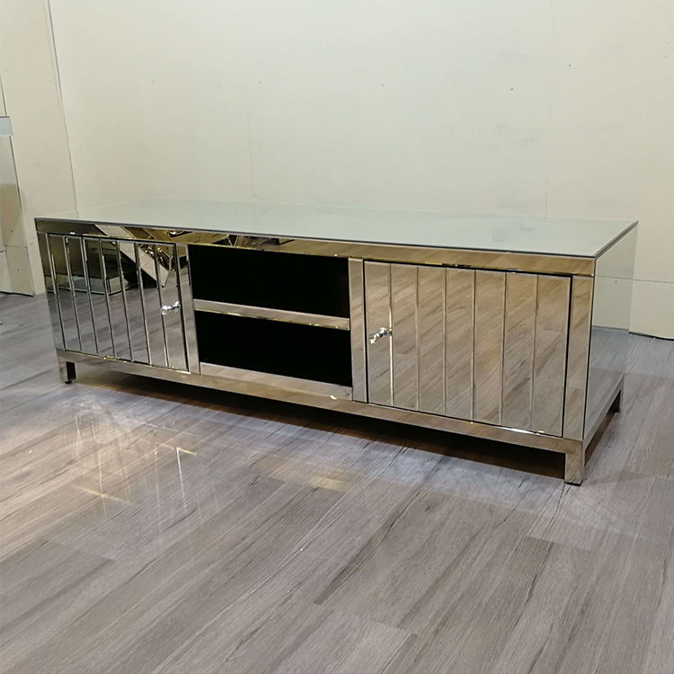 modern silver mirror finish floating crushed diamond tv stand