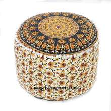 Ethnic Mandala Round Pouf Ottoman Boho Foot Stool Outdoor Furniture Home Decor Patio Chair