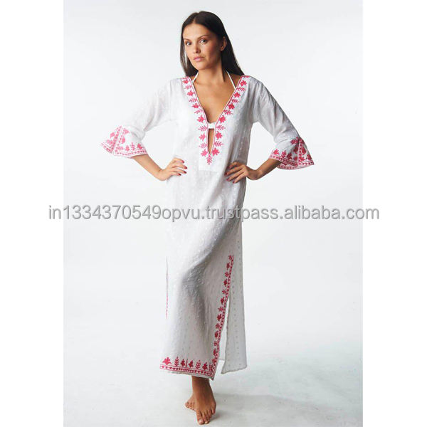 Sexy Hot Bohemian Retro Look Floral Pattern Embroider Deep V Neck Ruffle Sleeve Beach Long Maxi Dress Moroccan Swimsuit Cover up