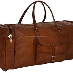 Prastara Pure Leather Unisex Travel Brown Casual Duffel / Gym Bag