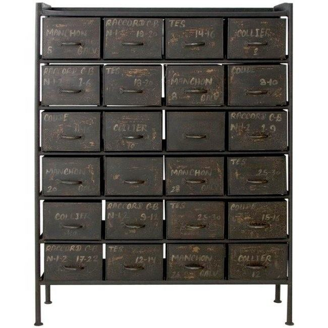 Industrial & vintage old antique Grey painted Iron metal 24 drawer chest