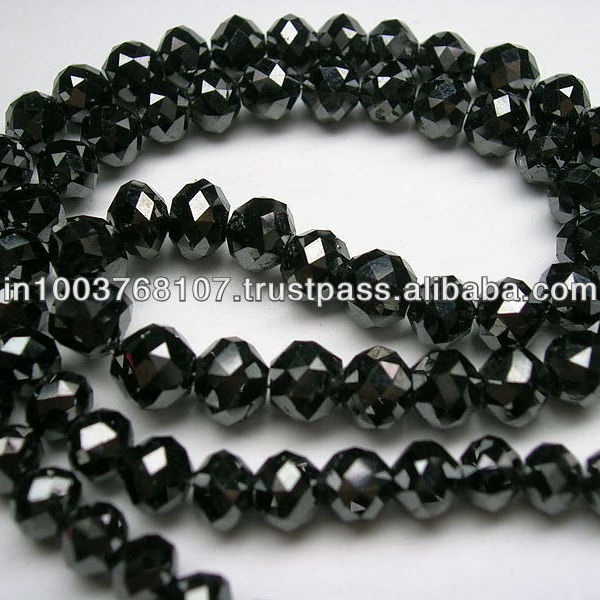 Black Diamond Roundel Faceted Beads