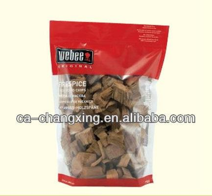 Reclosable zipper with clear window for wood chips/Pecan wood chips plastic bag