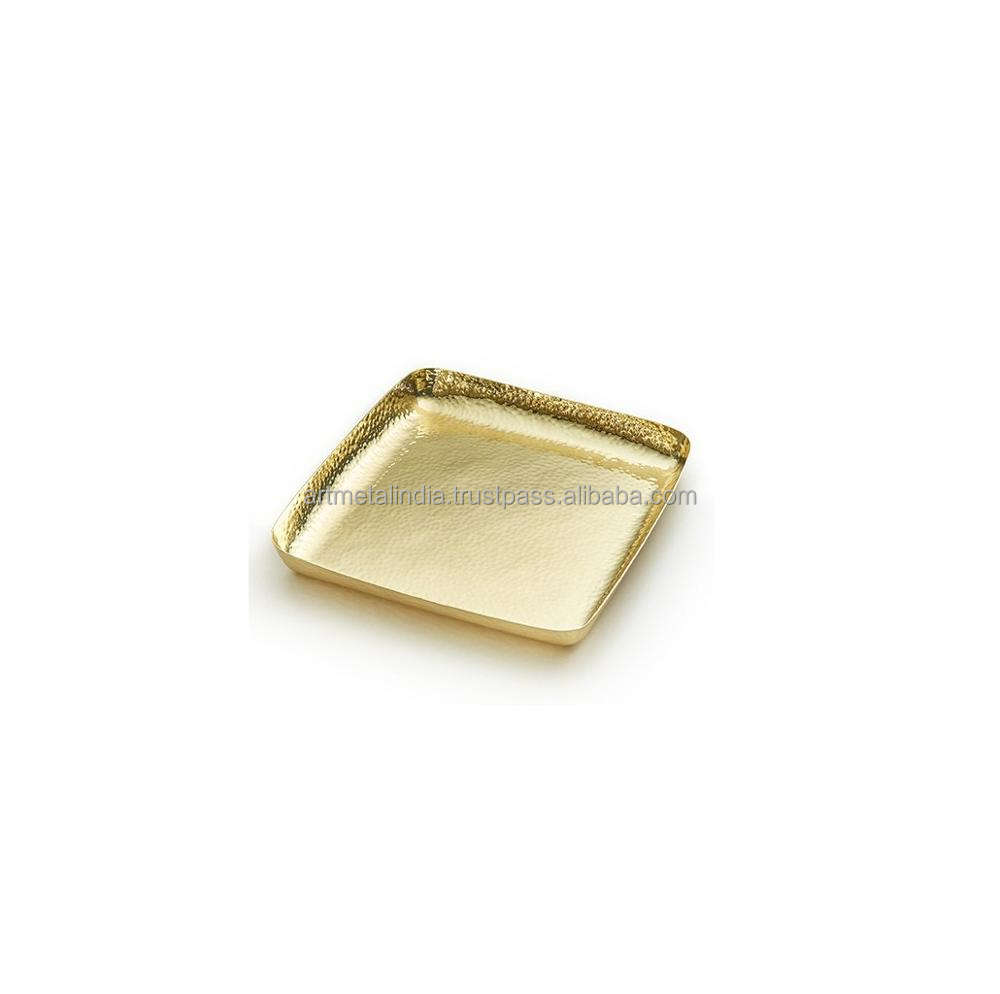 GOLD PLATED METAL SERVING TRAY