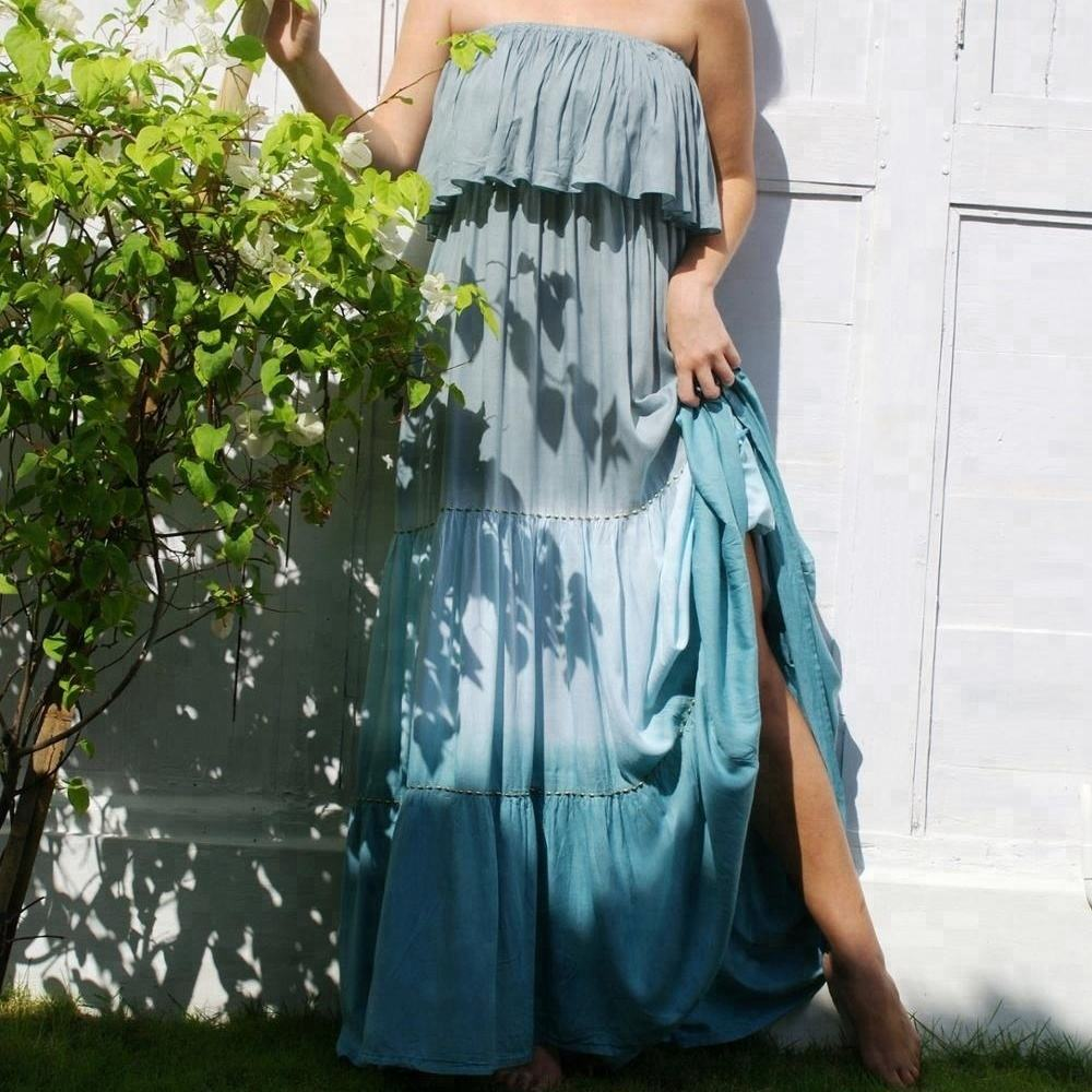 Trendy Franje Tie Dye Maxi Eve Bphemian Cover Up Kralen Resort Wear Off Shoulder Jurken