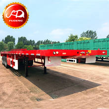 Low price 3 axles flat bed 40ft container semi trailer for export