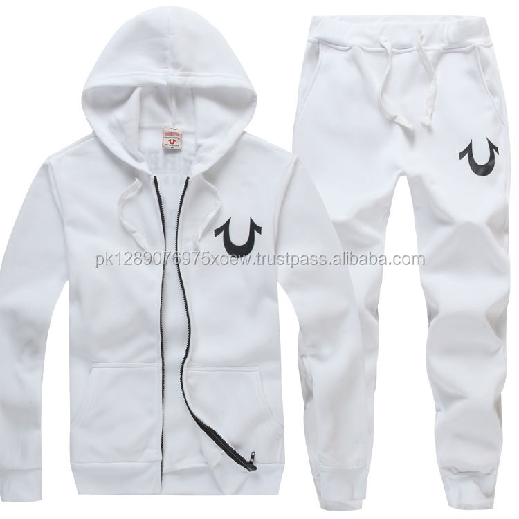 white stylish branded sports wear track suits, sports wear cotton fleece tracks suits, men women running tracksuits